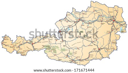 High Detailed Austria Road Map Labeling Stock Vector - Road map of austria