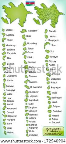Map of Azerbaijan with borders in green - stock photo