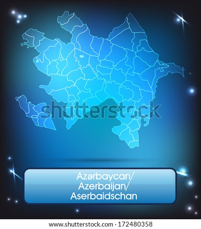 Map of Azerbaijan with borders with bright colors - stock photo