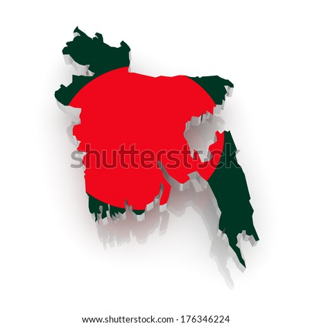 Map of Bangladesh. 3d