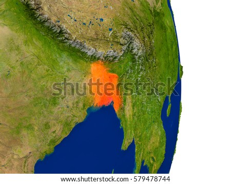 Map of Bangladesh in red on planet Earth. 3D illustration with detailed planet surface. Elements of this image furnished by NASA.