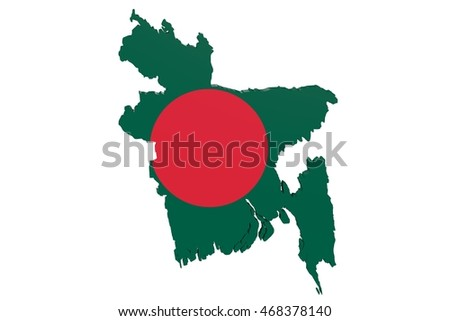 Map of Bangladesh in the colors of the national flag