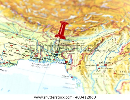 Map of Bangladesh with pin set on Dhaka. - stock photo