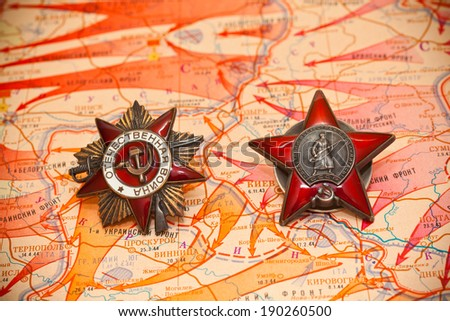 Map of battles in World War II. Order of the Red Star. - stock photo