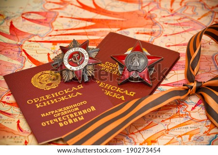 Map of battles in World War II. Order of the Red Star, medal book, George Ribbon. - stock photo