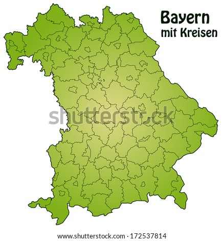 Map of Bavaria with borders in green