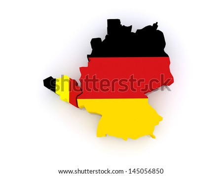 Map of Belgium and Germany. 3d