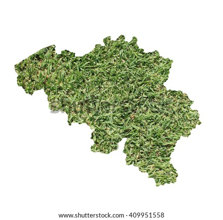 Map of Belgium filled with green grass, environmental and ecological concept. - stock photo