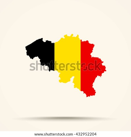 Map of Belgium in Belgium flag colors