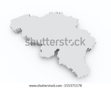 map of belgium on white isolated - stock photo