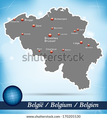 Map of belgium with abstract background in blue