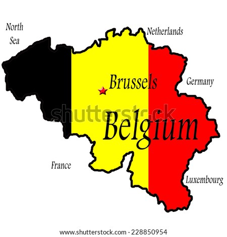 Map of Belgium with Brussels highlighted. Flag colors of black, yellow, and red background. Political boundary for Belgium with North Sea, Netherlands, Germany, France, and Luxembourg named around. - stock photo