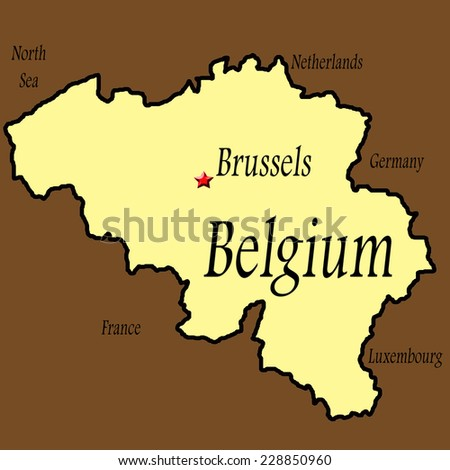 map of belgium with brussels highlighted tan with brown background political boundary for belgium