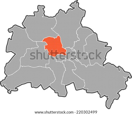 Map Berlin Districts Focus On District Stock Illustration 220302499 ...