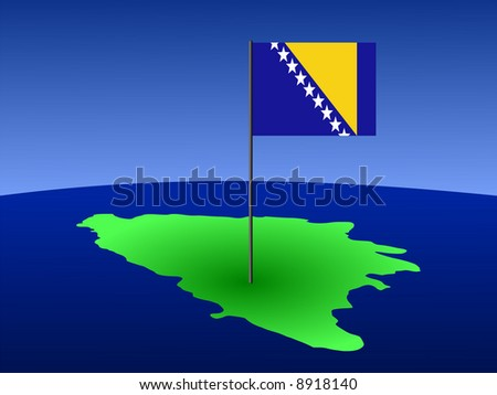 map of Bosnia and Bosnian flag on pole illustration JPG