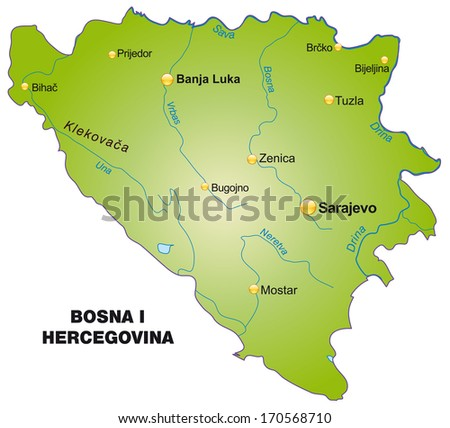 Map of Bosnia and Herzegivina as an overview map in green