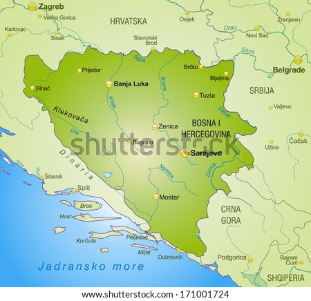 Map of Bosnia and Herzegovina as an overview map in green - stock photo