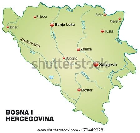 Map of Bosnia and Herzegovina as an overview map in pastel green