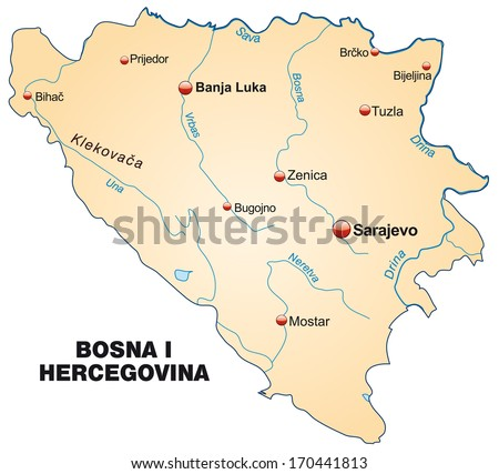 Map of Bosnia and Herzegovina as an overview map in pastel orange