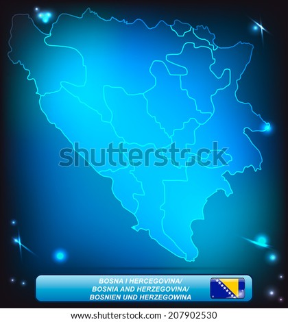 Map of Bosnia and Herzegovina with borders with bright colors