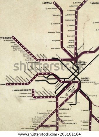 Map of Boston commuter rail system - stock photo