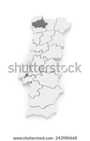 Map of Braga. Portugal. 3d - stock photo