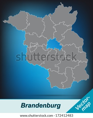Map of Brandenburg with borders in bright gray