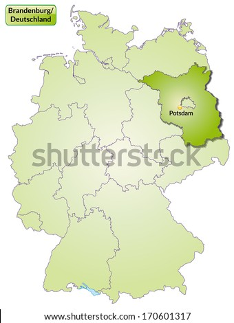 Map of Brandenburg with main cities in green