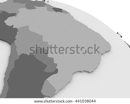 Map of Brazil on grey model of Earth. 3D illustration - stock photo