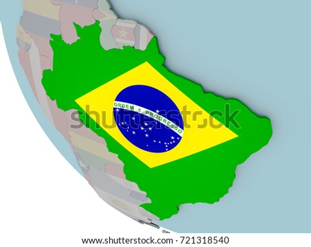 Map brazil on political globe embedded stock illustration 721318540 map of brazil on political globe with embedded flags 3d illustration gumiabroncs Images