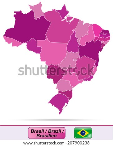 Map of Brazil with borders in violet