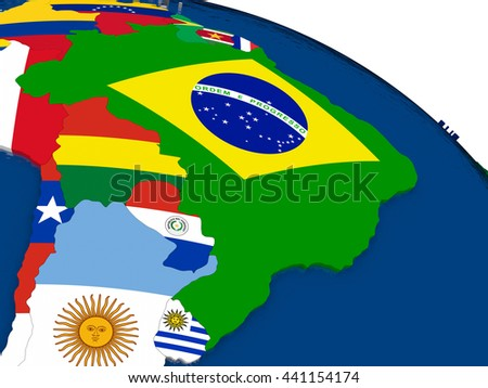 Map of Brazil with embedded flags on 3D political map. Accurate official colors of flags. 3D illustration - stock photo