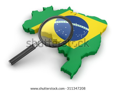 Map of Brazil with loupe. Image with clipping path. - stock photo