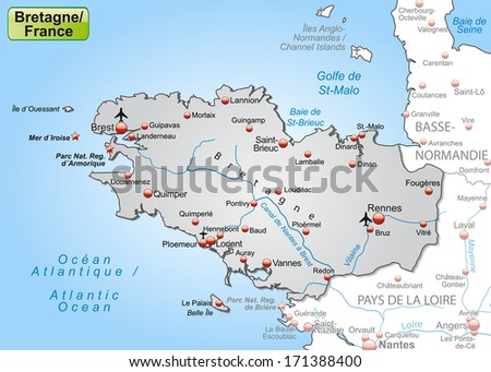 Map of Brittany as an overview map in gray