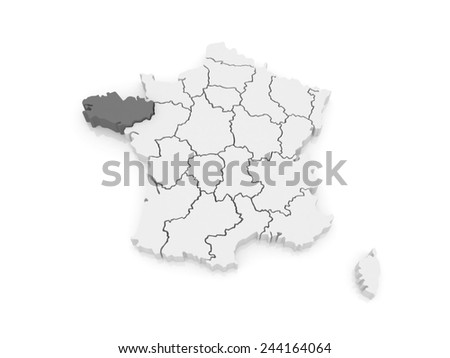 Map of Brittany. France. 3d - stock photo