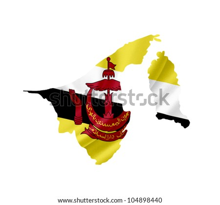 Map of Brunei with waving flag isolated on white - stock photo