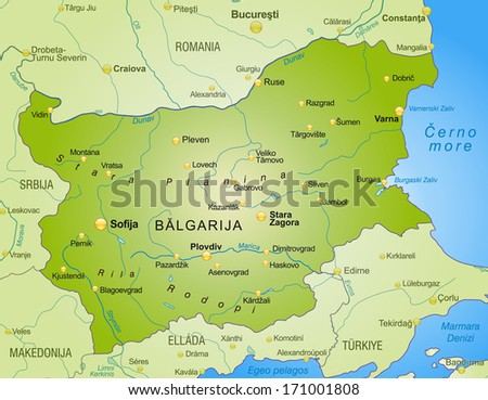 Map of Bulgaria as an overview map in green - stock photo