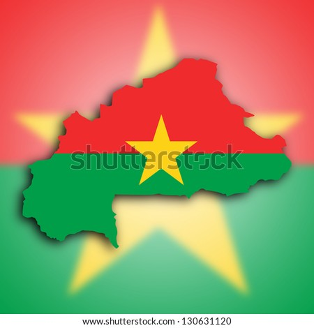 Map of Burkina Faso filled with the national flag