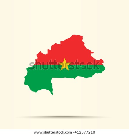 Map of Burkina Faso in Burkina Faso flag colors
