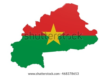 Map of Burkina Faso in the colors of the national flag