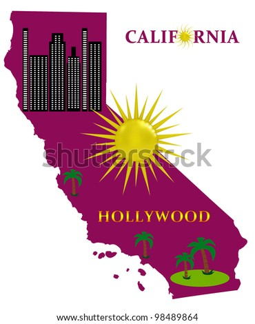 Map of California with sunshine and palm trees - stock photo