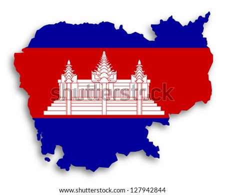 Map of Cambodia filled with flag, isolated - stock photo