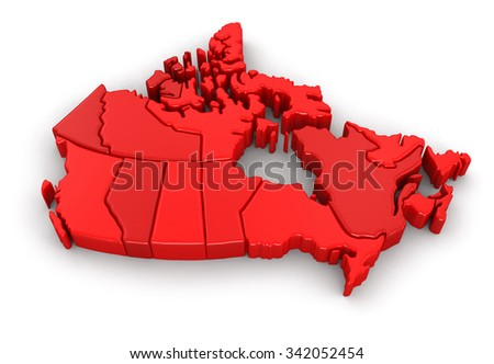 Map of Canada. Image with clipping path. - stock photo