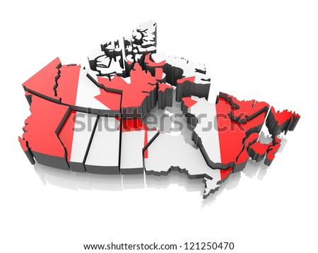 Map of Canada in national flag colors. 3d