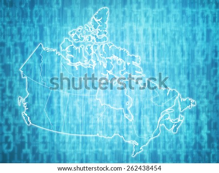 map of canada with administrative divisions over digital background