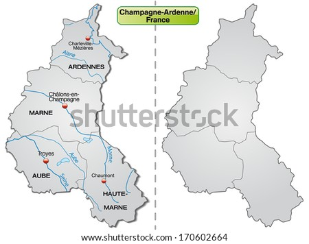 Map of Champagne-Ardenne with borders in gray - stock photo