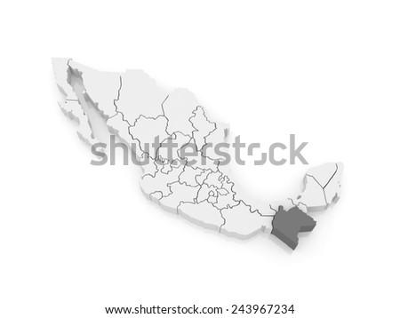 Map of Chiapas. Mexico. 3d - stock photo