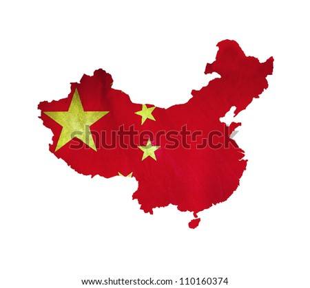 Map of China isolated - stock photo