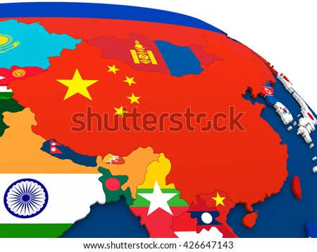 Map of China on globe with embedded flags of countries. 3D illustration.