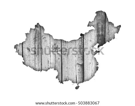 Map of China on weathered wood